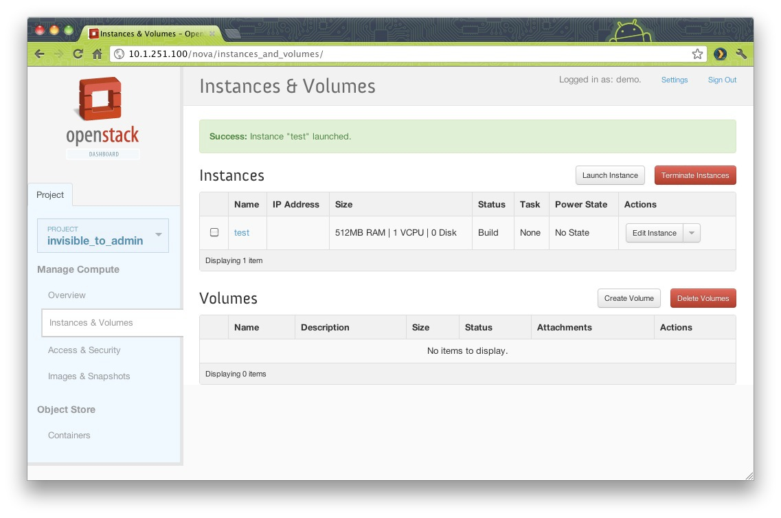 OpenStack Horizon ScreenShot