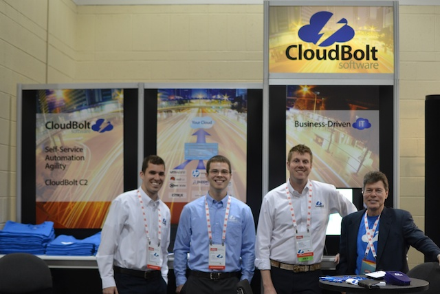 CloudBolt Booth Red Hat Summit Boston John Menkart Justin Nemmers Colin Thorp Jesse Newell