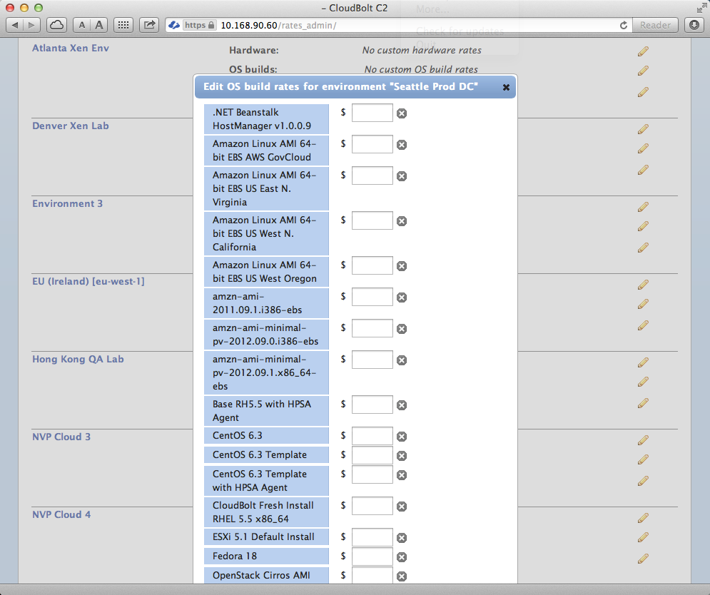 C2 Environment OS Template Rate Cloud IT Metering