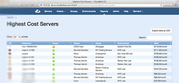 Controlled IT Self Service Report Highest Cost Servers