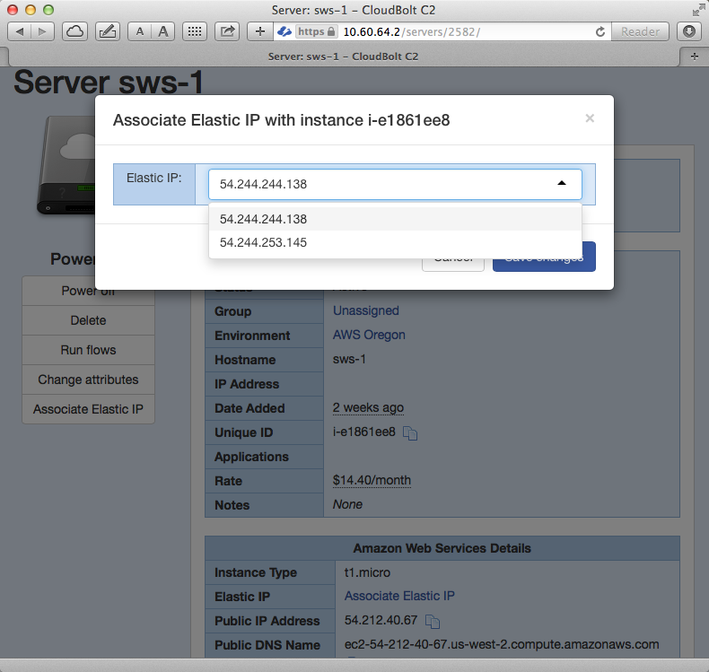 Amazon web services assign elastic IP address