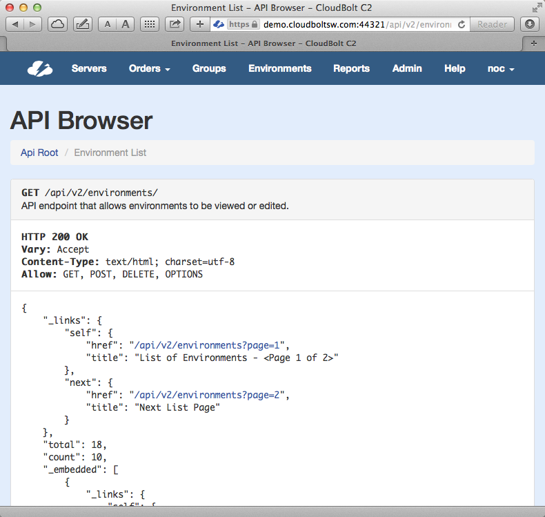 C2 API browser