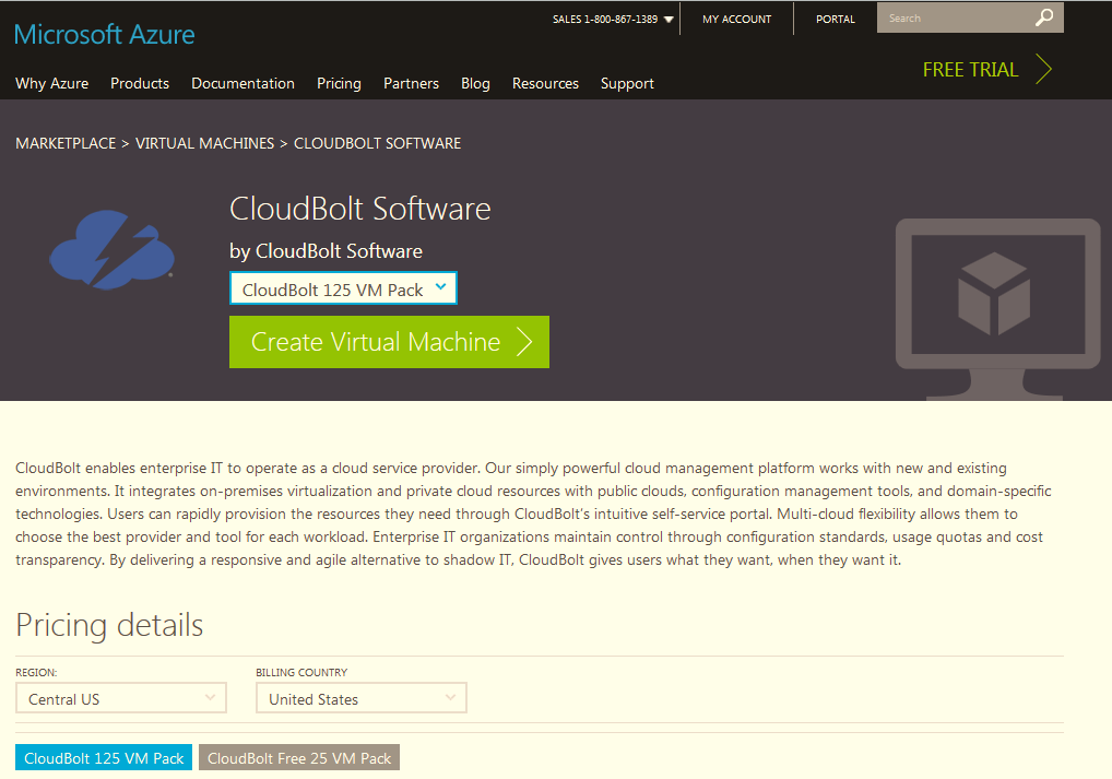 CloudBolt listing in Azure Marketplace